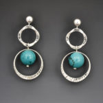 Silver Hoops Turquoise 2823ES