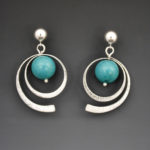 Silver Hoops Turquoise 2825ES